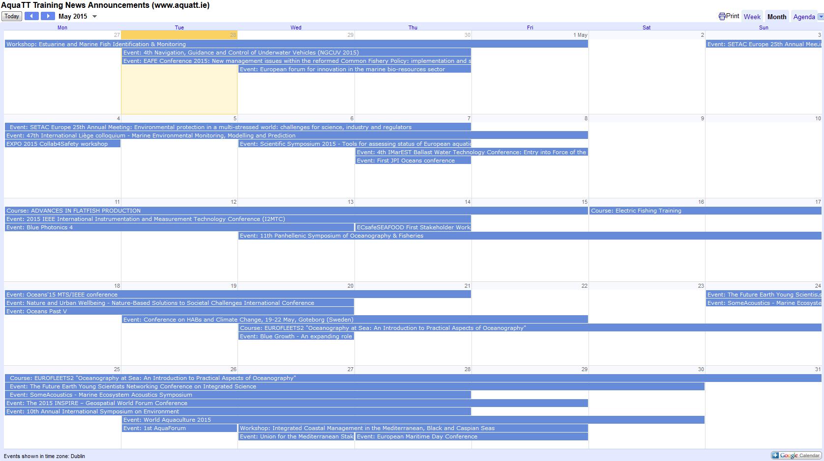 Announcements April 2015