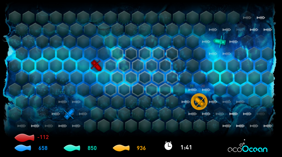 Screenshot of gameplay from the ecoOcean overfishing simulation game