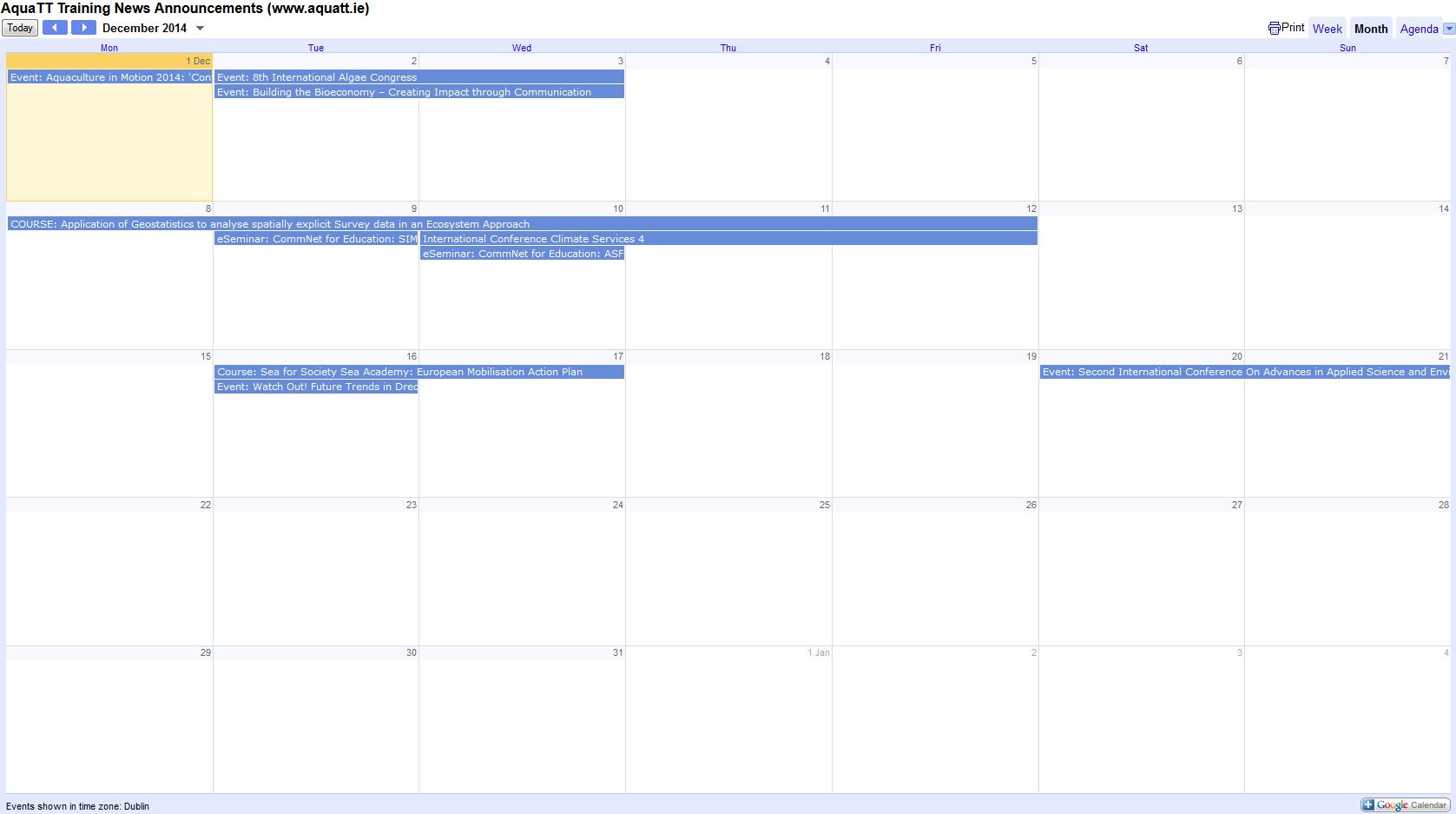 December 2014 Announcements Calendar