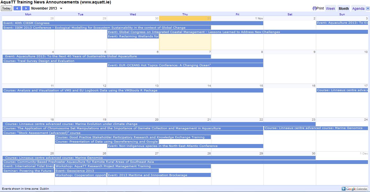 Updated Announcements Calendar November 2013