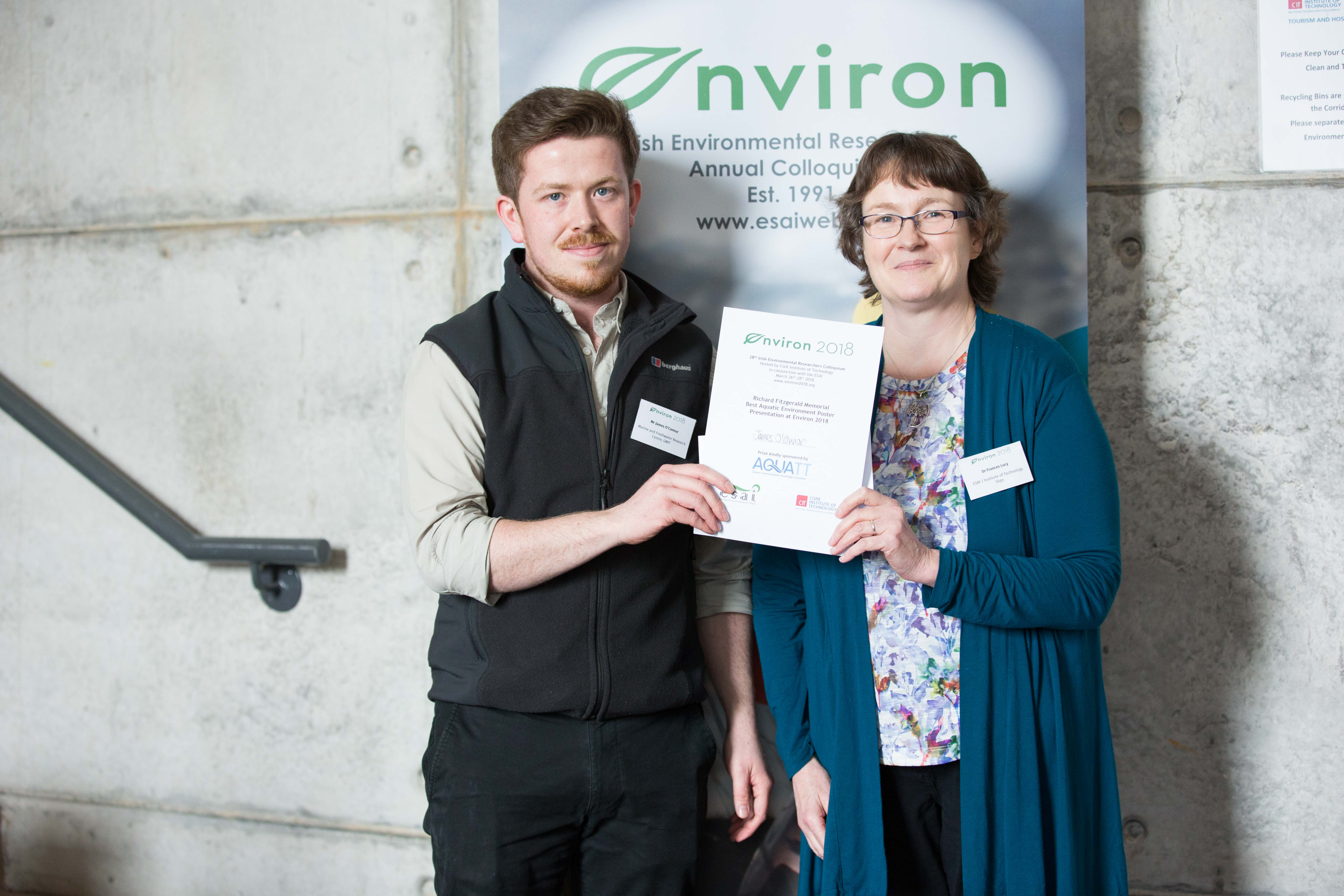 Richard Fitzgerald Best Aquatic Env Poster Environ 2018 James O Connor GMIT receives his award from ESAI Chair Prof Frances Lucy