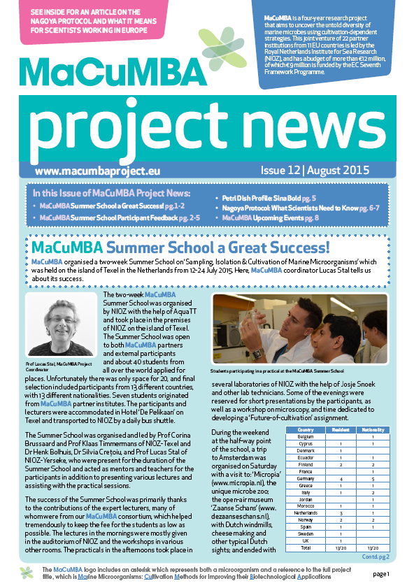 MaCuMBA Newsletter 12 Cover