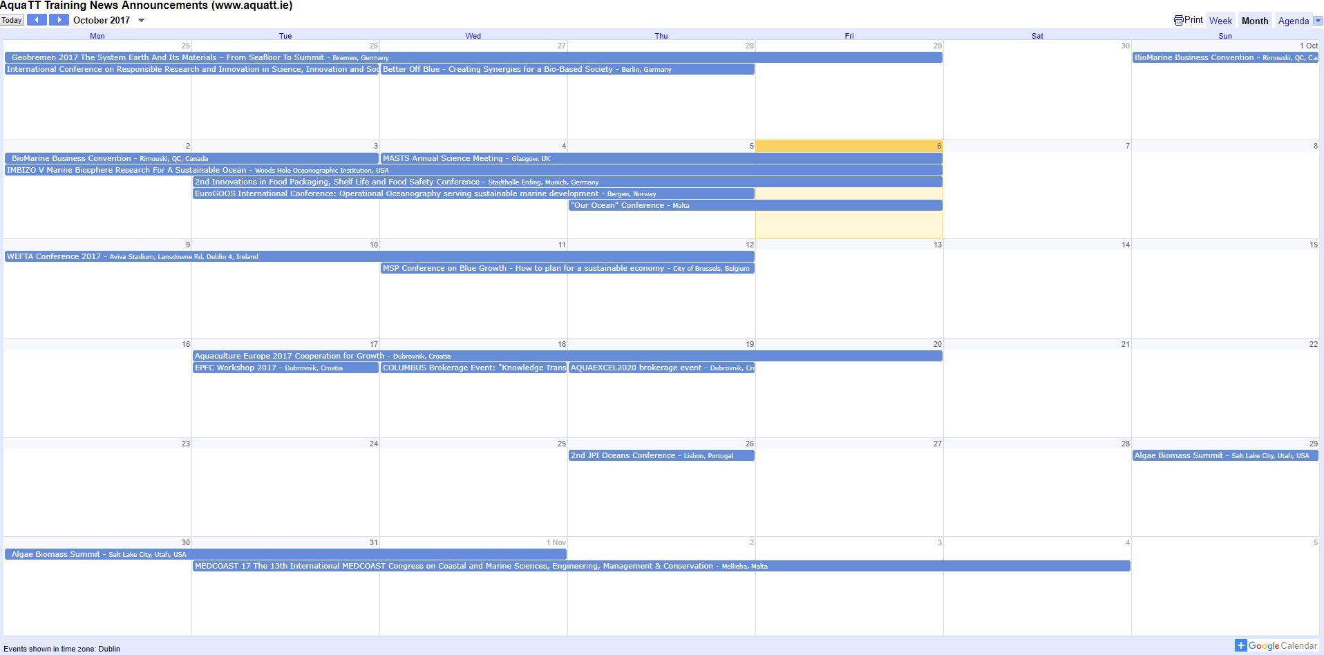 Calendar Oct